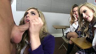 Hot blonde schoolgirls are doing an orgy with a sex teacher!