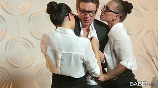 Hot secretary Aidra Fox and her colleague fuck a nerdy office worm