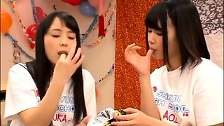 Delightful Japanese girls set up an exciting lesbian orgy