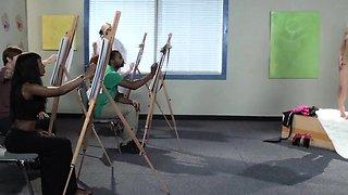 CFNM lingerie milfs in art class threesome