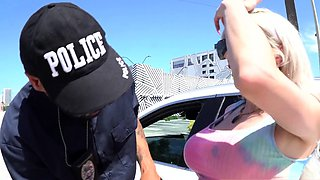 Booty trans babe barebacked by cop