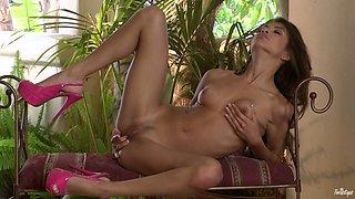 Tall flexible brunette Veronica Rodriguez masturbates in the villa
