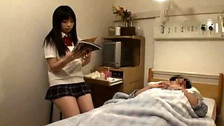 Dozing Japanese teen wakes up for a dirty blowjob uncensored