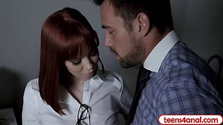 teen employee redhead anal punish fucked by her boss