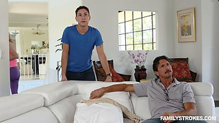 Son and stepmom have dirty sex in the bed