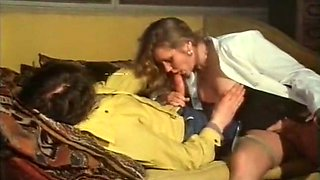 Cute vintage blonde milf licks the tip of the dick to tease