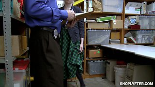 Shoplifting chick Lexi Lore gets her muff and throat punished in the back room