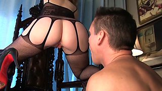 Curvy Mistress In Body Stocking Face Sits