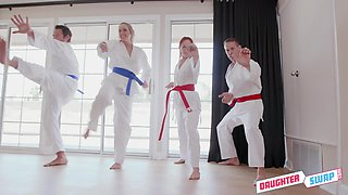 Karate coaches swap pretty students for crazy foursome sex