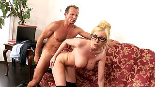 Smooth fucking on the sofa with busty blonde secretary Dona Bell