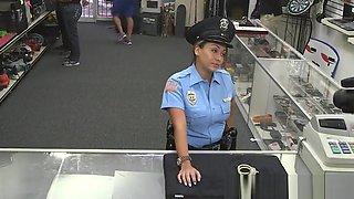 Latina pawnshop cop doggystyled after blowjob
