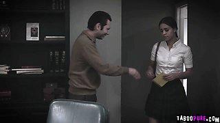 Crying schoolgirl begs school counselor to fuck her hard!