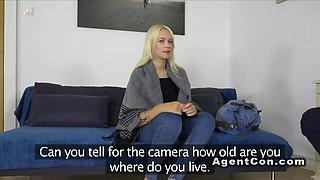 Russian blonde amateur bangs in casting