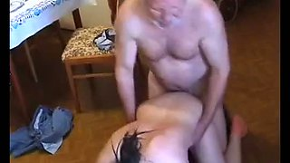 Very old fat man abuse young maid very hard