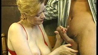 Mature gets cum in mouth