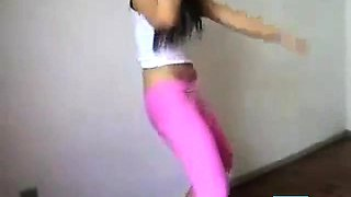 cameltoe pink leggins dance