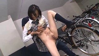 Japan school girl groped and fucked in bike shed