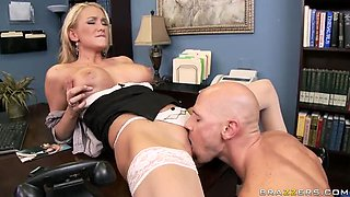 Blonde Babe Blake Rose Titty Fucks Her Boss To Take Cum After Anal