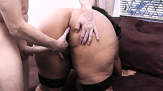 Boss bangs busty ebony bbw from behind