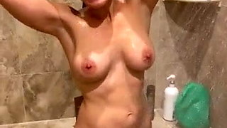 Filming a hot petite wife taking a shower