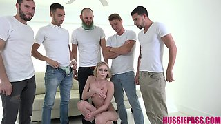 Lusty whore Athena May is brutally mouthfucked by well hung studs