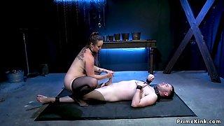 Big tits mistress fucks her male slave