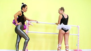 Ballerina gags on strapon