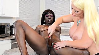 Alura Jenson Dildos Bella Doll In Kitchen Interracial