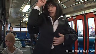 Trimmed pussy Japanese Haha Haruna gets fucked in a public transport