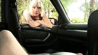 Blonde clothed amateur blows