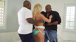 Blonde slut Nadia North fucked by insatiable black fellows