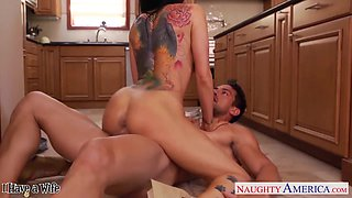 Sexy busty housewife dreams of riding strong cock right in the kitchen