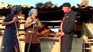 Hungarian granny peasant Janet pees and fucks near the barn