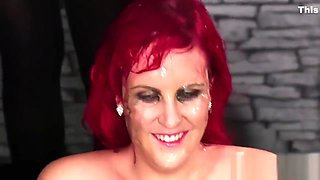 Wicked bombshell gets sperm load on her face swallowing all the cum