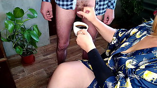 Russian BBW and her morning coffee with my cum