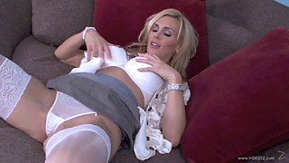 Blonde MILF in nylons sucking cock and getting banged hardcore