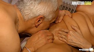 Amateur euro german horny housewife has sex in the kitchen