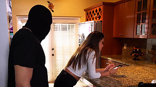 Burglar breaks in and fucks hot brunette in her kitchen