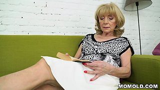 Granny is eager to take that huge young cock and put it in between her legs