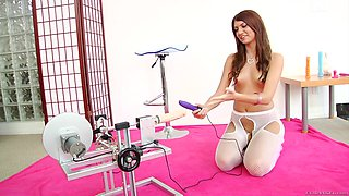 Hot pornstar in enticing pantyhose enjoys masturbating with machines and sex toys