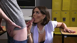 Hardcore fucking in the classroom with naughty MILF Krissy Lynn