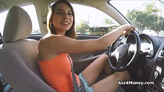 Bigtit teen rides car and cock