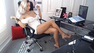 Secretary has amazing hair, body, legs, feet & sandals.