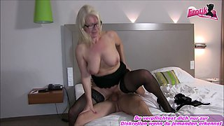 Young german student fucks blond mature teacher during school trip with creampie