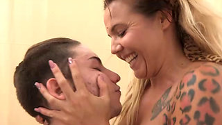 Hot blonde fucking a young stud