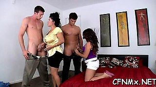 Chick gives a steamy oral sex during hardcore cfnm fuck