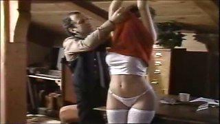 Busty classic whore gets her muff licked spreading legs wide open