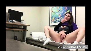 Nurse touching herself in rxam room