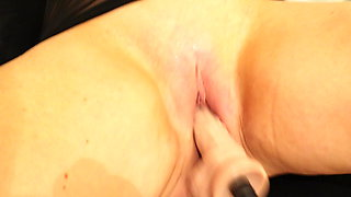 Blonde squirting with a fucking machine
