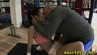 Babe ass fucked in gym